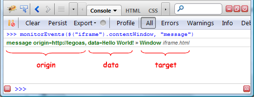 Firebug Tip: Observe window postMessage() calls | Software is hard