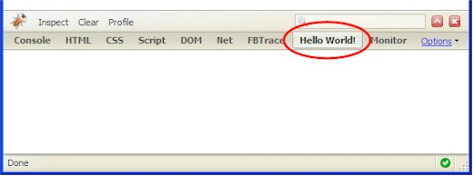 A new panel (tab) within Firebug.