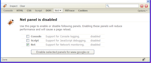 Firebug\'s panel disabled