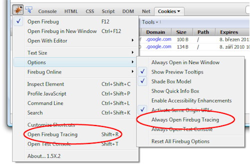 How to open Firebug Tracing Console in Firebug 1.5
