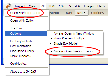 How to open Firebug Tracing Console in Firebug 1.3