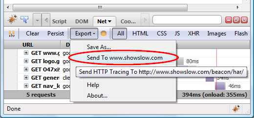 Uploading HAR to ShowSlow server